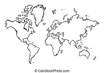 World map outline -  sharp polygonal geometric style simple vector.