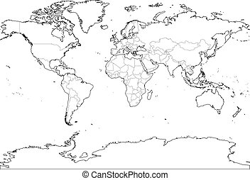 World map with country borders thin black outline on white world map outline thin country borders and thick land contour on white background simple gumiabroncs Images