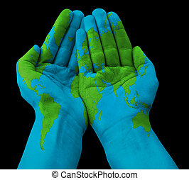 World painted on hands globe painted on closed hands pictures world map painted on human hands gumiabroncs Images