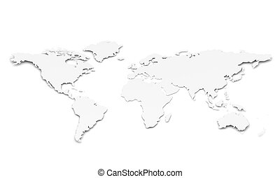 World Map. Paper Shape - A World Map in 3D. Paper Shape,...