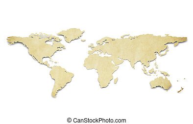 A World Map in 3D. Paper Shape, thin and Antique style.
