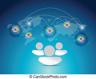 world map people network