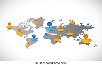 world map people network connection