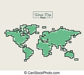 world map pixel in green color silhouette
