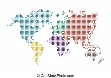 Vector world map with continent in different color flat design world map pixel style and flat color design different color of continent gumiabroncs