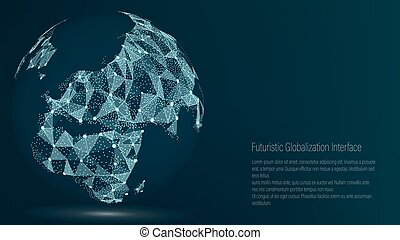 World Map Point. Europe. Vector Illustration. Composition, Representing The Global Network Connection, International Meaning. Futuristic Digital Earth.