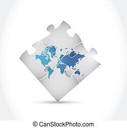 world map puzzle illustration design
