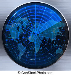 great image of a world map on a sonar or radar screen
