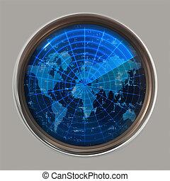 world map radar or sonar