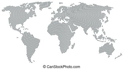 World map radial dot pattern gray color
