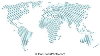 World map radial dot pattern