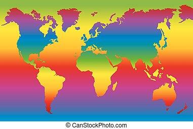 World Map Rainbow Colored Planet Ea
