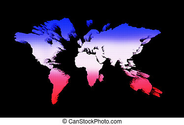 world map red white blue