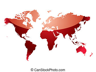 world map reflect red