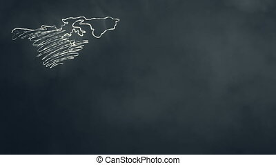 World Map Scribbling on Chalkboard