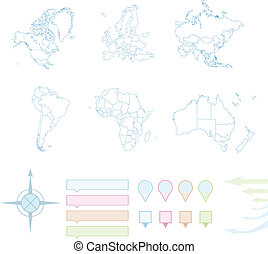 World map, Set of six continents Vector illustration.