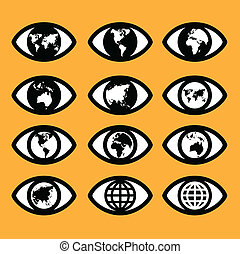 world map sign in the eye, eye sign, vision concept ,world symbol ,business concept.
