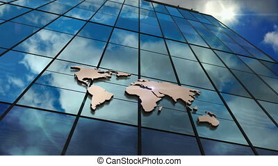 World Map sign on glass skyscraper with mirrored sky loop animation