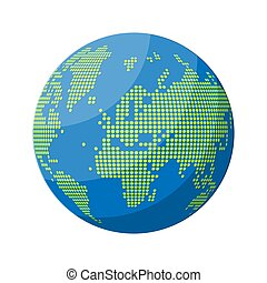 World map silhouette. Globe in dots.