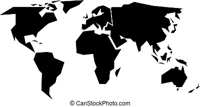 World map silhouette - simplified black vector shape