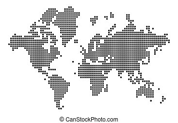 World map silhouette. World map in dots.
