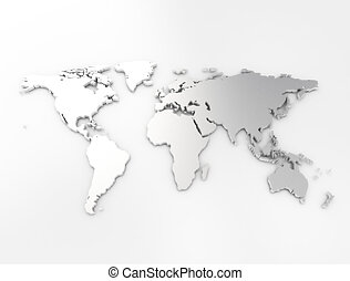World map silver