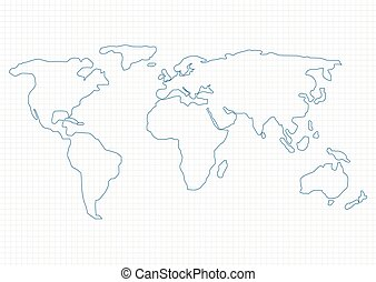 World map - Simple World Map on graph paper, Vector ...