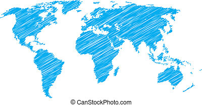 World map sketch - Blue vector scribble sketch of world map