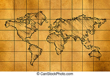 Old world map on grunge paper old world map on grunge retro world map sketch on old paper gumiabroncs Images