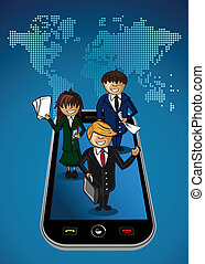 World map smart phone app business  people.