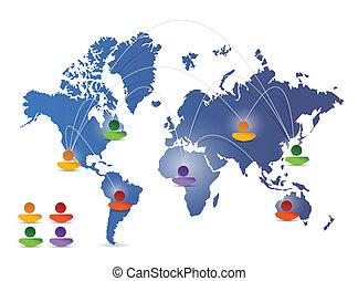 world map social media network illustration