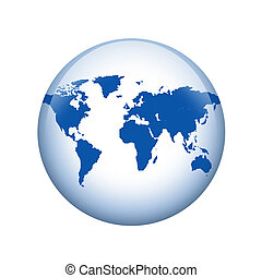 World map. Spherical glossy button