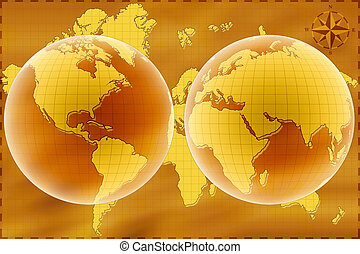 World map - Old map of World. East and west hemisphere.
