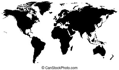 World map - highly detailed black & white illustration