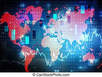 world map stock market background