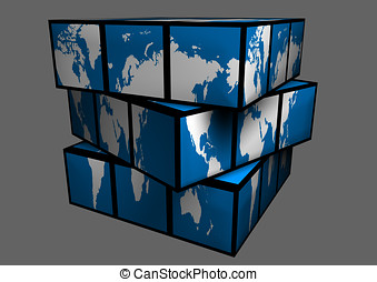 World map. World map as cube. Globe.