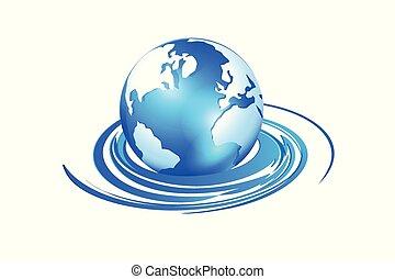 World map swirly waves logo