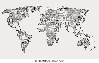 World map technology style digital world with electronic systems