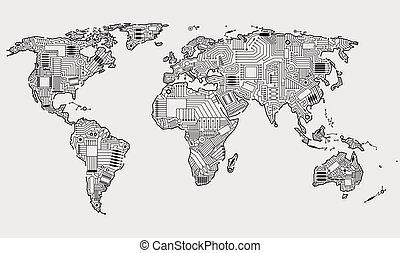digital world - World map technology style digital world...
