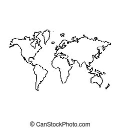 World map the black color icon .