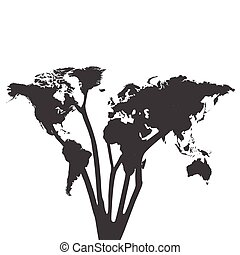 World Map Tree Silhouette Illustration