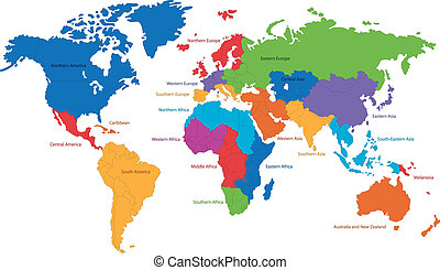 World map - United Nations divides the world into macro-...