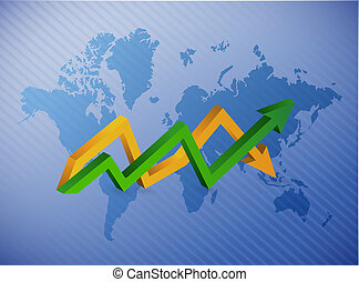 world map up and down business arrow chart