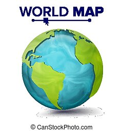 World Map Vector. 3d Planet Sphere. Earth With Continents. North America, South America, Africa, Europe. Isolated Illustration