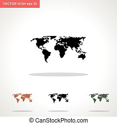 world map vector icon isolated on white background