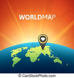 World map vector illustration, infographic design template