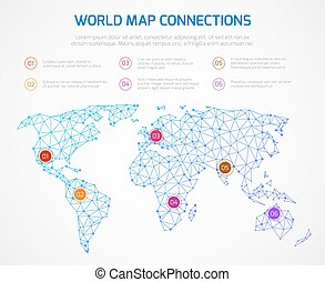 Origami world map polygonal earth vector infographics vector world map vector infographics template with internet connections gumiabroncs Choice Image
