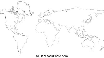 World map vector isolated on white background. Flat Earth, ...