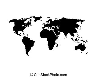 World map vector, isolated on white background