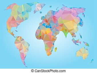 Colored world map triangle design vector clip art search world map vector polygonal triangle geometric gumiabroncs Gallery